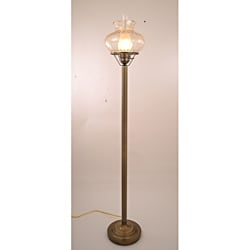 Hurricane With Rhombus Amber Glass Floor Lamp
