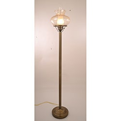 Hurricane With Rhombus Amber Glass Floor Lamp