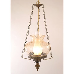 Hurricane Swag Rhombus Amber Glass Ceiling Lamp