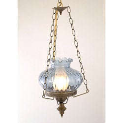 Hurricane Swag Rhombus Blue Glass Ceiling Lamp