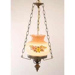 Floral Hurricane 13-Watt Antique Brass-Finish Swag Lamp