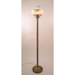 Floral Hurricane 13-Watt Antique Brass-Finish Floor Lamp