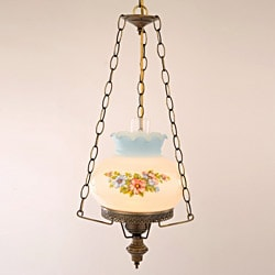Floral Hurricane Swag Lamp With Antique Brass Finish