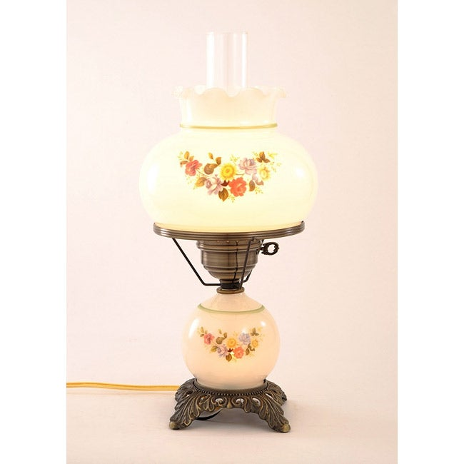 floral hurricane antique brass finish table lamp with glass shade. Black Bedroom Furniture Sets. Home Design Ideas