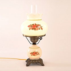 Floral Hurricane Table Lamp With Antique Brass Finish