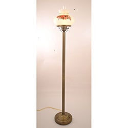 Floral Hurricane Antique Brass Finish Floor Lamp