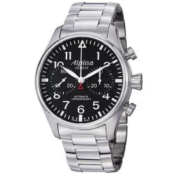 Alpina Men's AL-860B4S6B 'Aviation' Black Dial Stainless Steel Chronograph Watch