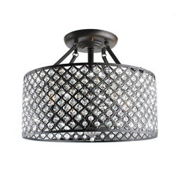 Antique Bronze 4-light Round Crystal Ceiling Chandelier