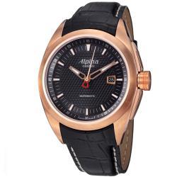 Alpina Men's AL-525B4RC4 'Club' Rose Goldtone Black Leather Strap Automatic Watch