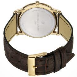 Frederique Constant Men's FC-245M5S5 'Slim Line' Water-Resistant Silver-Dial Brown-Strap Watch
