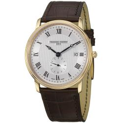 Frederique Constant Men's FC-245M5S5 'Slim Line' Water-Resistant Silver-Dial Brown-Strap Watch