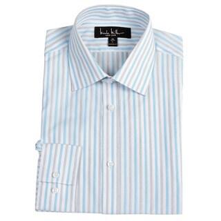 nicole miller men 39 s white aqua striped dress shirt