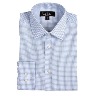Nicole Miller Men's Blue Check Dress Shirt