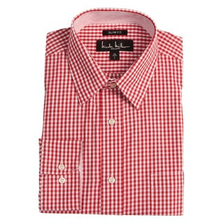 Nicole Miller Men's Red Check Dress Shirt