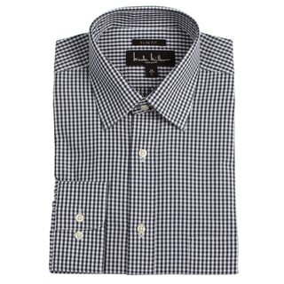 Nicole Miller Men's Navy Check Dress Shirt