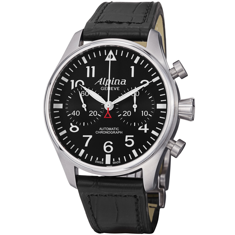 Alpina Men's 'Aviation' Black Dial Leather Strap Chronograph Watch