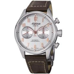 Alpina Men's 'Aviation' Silver Dial Brown Strap Chronograph Watch