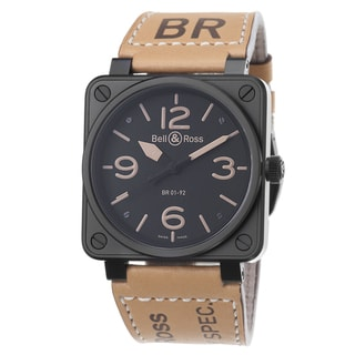 Bell & Ross Men's 'Aviation' Black Dial Beige Leather Strap Watch