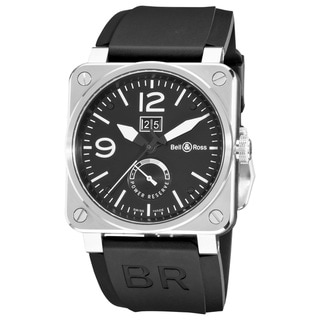 Bell & Ross Men's BR03-90POWRRSV 'Aviation' Black-Dial Stainless-Steel Power Reserve Automatic Watch