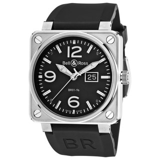 Bell & Ross Men's BR01-96GRNDDATE 'Aviation' Black Dial Black Rubber Strap Sapphire Watch