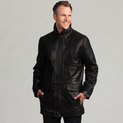 Izod Men's Black Lambskin Leather Coat