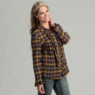 Live A Little Women's Plaid Ruffle Shirt
