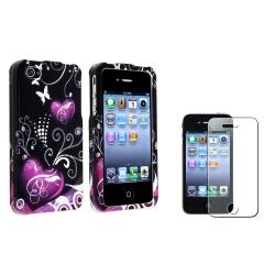 Black/ Purple Heart Case/ Diamond LCD Protector for Apple iPhone 4/ 4S