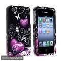 Black/ Purple Heart Case/ Mirror LCD Protector for Apple iPhone 4/ 4S