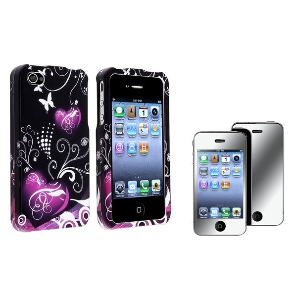 INSTEN Black/ Purple Heart Phone Case Cover/ Mirror LCD Protector for Apple iPhone 4/ 4S