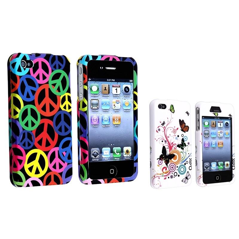 Black Rainbow Peace/ White Autumn Flower Cases for Apple iPhone 4/ 4S