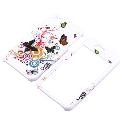 INSTEN White Autumn Flower Phone Case Cover/ Home Button Stickers for Apple iPhone 4/ 4S
