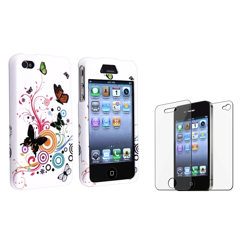 INSTEN White Autumn Flower Phone Case Cover/ LCD Protector Bundle for Apple iPhone 4/ 4S