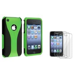 Green and Black Case/ Screen Protectors for Apple iPhone 3G/ 3GS