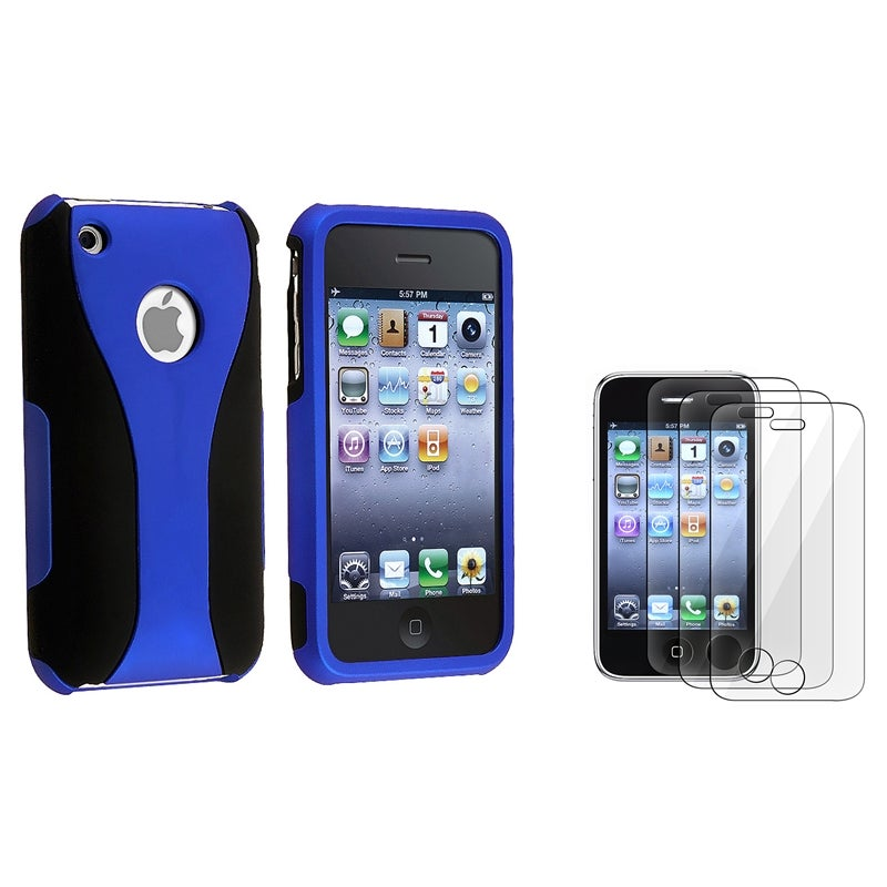 INSTEN Blue and Black Phone Case Cover/ Screen Protector Set for Apple iPhone 3G/ 3GS