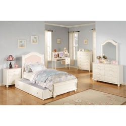 Solid Pink Zoe Twin Panel Bed, Headboard Footboard & Rails