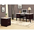 Britney 6-drawer White Marble Top Office Desk