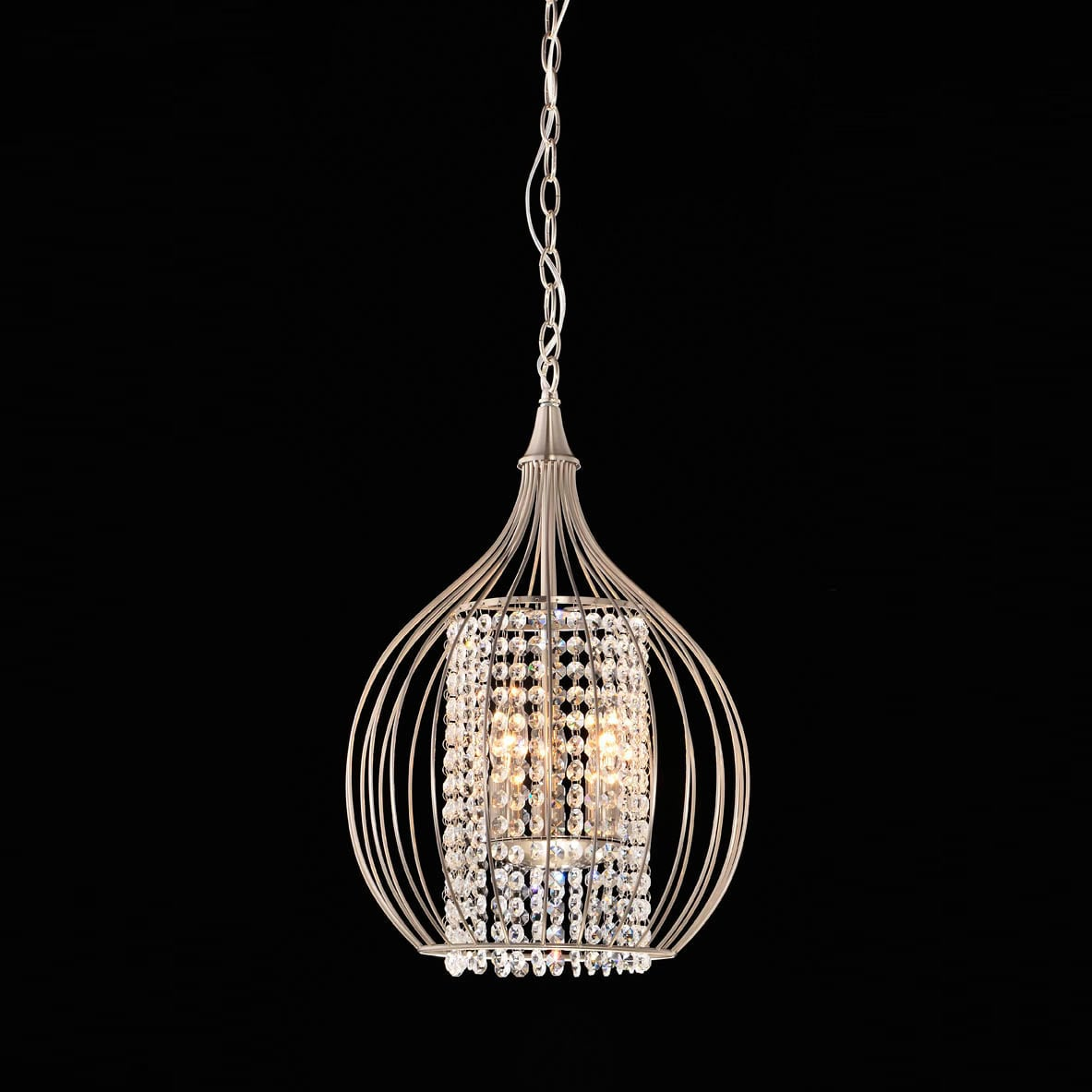 Compact Satin Nickel And Crystal Pendant Ceiling