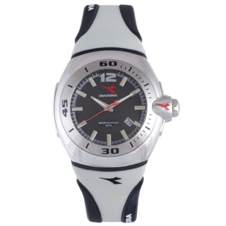 Diadora Men's Gray/ Black Rubber Date Watch