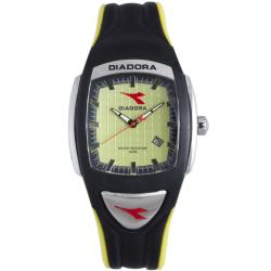Diadora Men's Black/ Yellow Rubber Date Watch