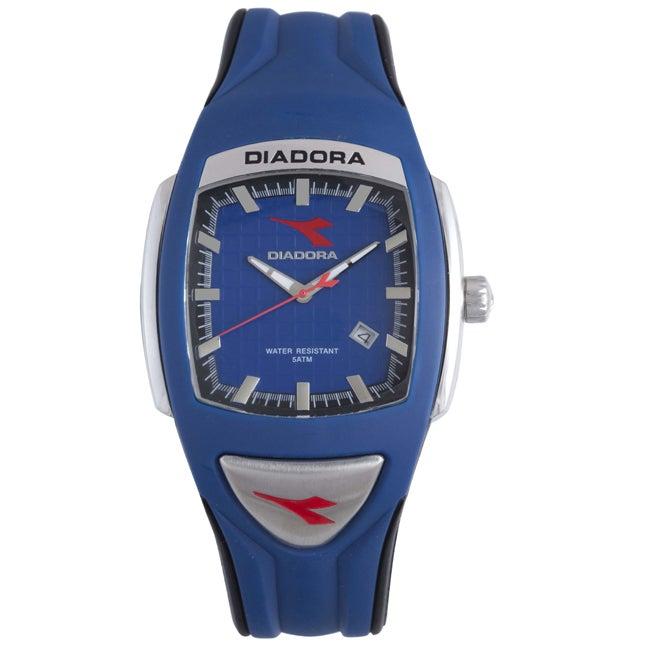 Diadora Men's Blue/ Black Rubber Date Watch