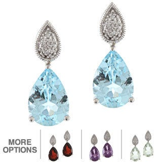 Viducci 10k White Gold Gemstone and Diamond Accent Earrings