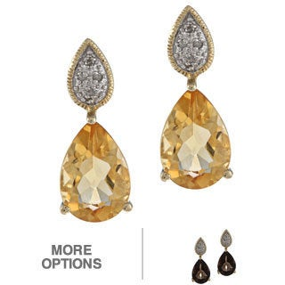 Viducci 10k Yellow Gold Gemstone and Diamond Accent Earrings