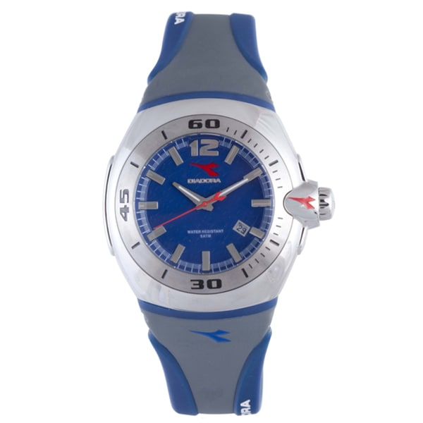 Diadora Men's Grey/ Blue Rubber Date Watch