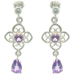 CGC Sterling Silver Amethyst Flower and Teardrop Earrings