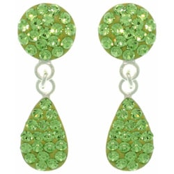 CGC Sterling Silver Green Austrian Crystal Teardrop Earrings