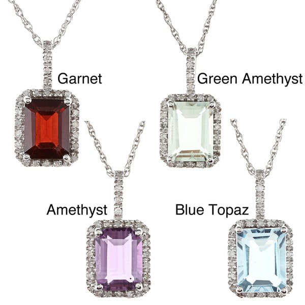 Viducci 10k Gold Gemstone and 1/6ct TDW Diamond Necklace (G-H, I1-I2)