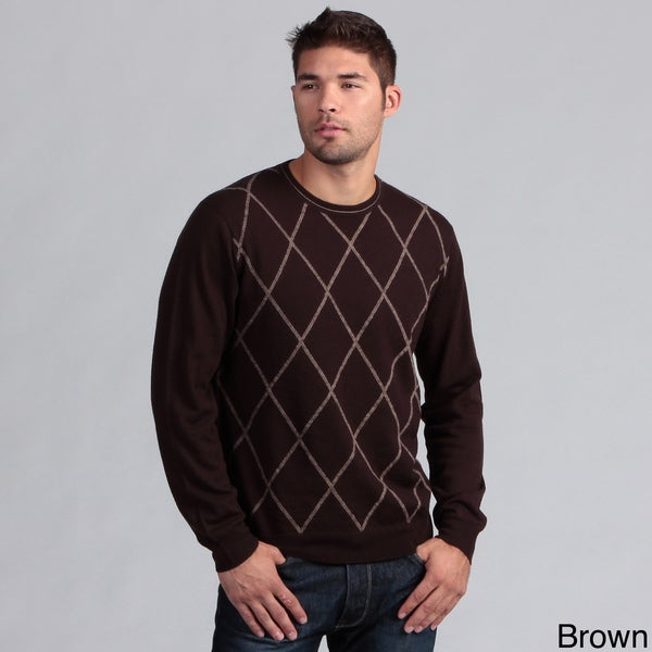 Poeta Moda Men's Diamond Jacquard Crewneck Wool Sweater