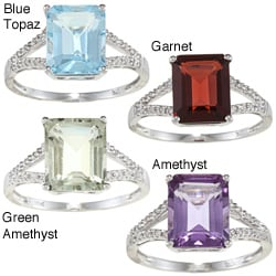 Viducci 10K Gold Emerald-cut Prong-set Gemstone and 1/10Ct TDW Diamond Rind