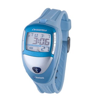 Chronotech Men's Digital Grey Display Light Blue Bluetooth Watch