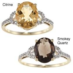 Viducci 10K Gold Oval-cut Gemstone and 1/10Ct TDW Diamond Ring